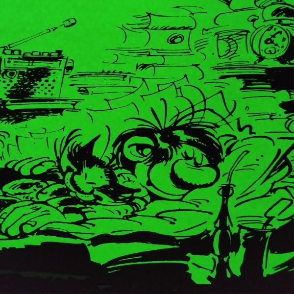 Sérigraphie phosphorescente Gaston la sieste aux archives