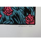 Silkscreen print La dernière rose de l'été Léo revenant de la plage