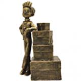 Figurine en Bronze Spirou - Spirou et la pile de bagages