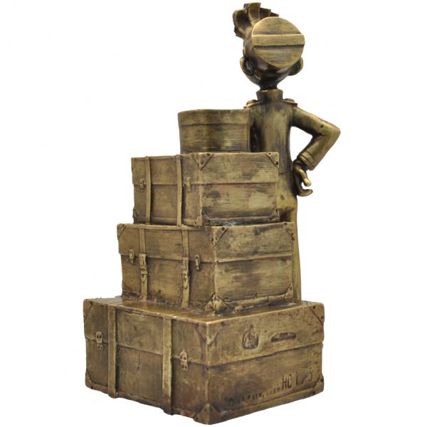 Bronze Figurine Spirou and the luggage stack