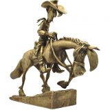 Figurine en bronze Lucky Luke et Jolly Jumper gravissant la colline