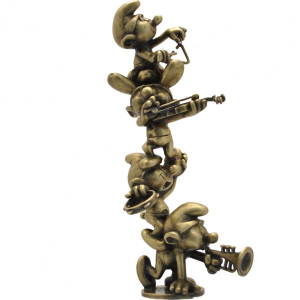 Bronze figurine The musician Smurfs