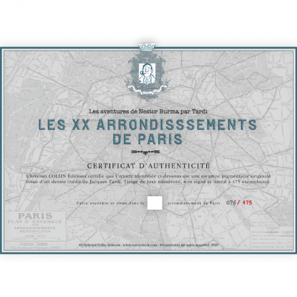 Estampe pigmentaire Nestor Burma par Tardi, le 15e arrondissement