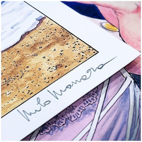 Sérigraphie Baiser sur la Plage Violet - Milo Manara