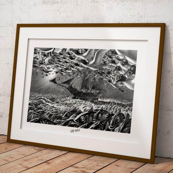 Affiche Riff Reb's - Hommes à la mer - La migration